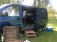 Camper van as single bed in back used fishing camping