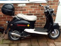Retro style scooter motorbike , black with cream trimmings