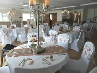 Venue styling full wedding decor packages chair covers 4ft LOVE twinkle backdrop & much more