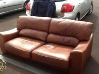 Chocolate brown large two seater sofa