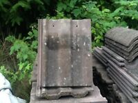380 2nd Hand Russell Cheviot Roof Tiles plus some Ridges, Hip Irons & Dry End Gable Boxes