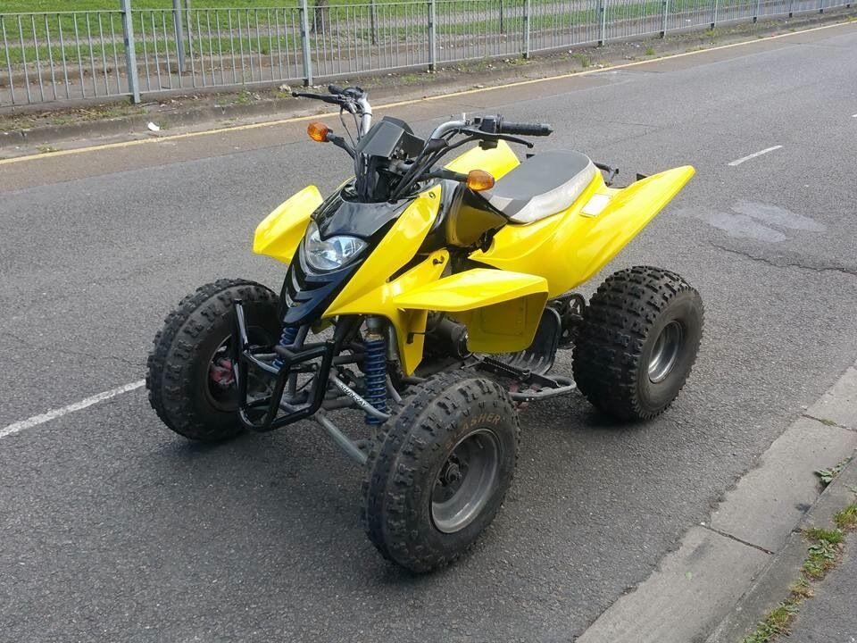 2011 yellow 250cc shineray road legal quad bike not honda for Yamaha raptor 50cc