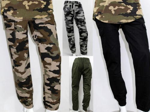 Men Cargo Pockets Twill Joggers Elastic Pants Slim Fit 6 Colors