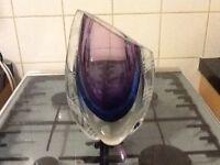 1970s heavy glass vase
