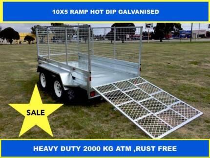 10X5 RAMP HOT DIP GALVANISED TRAILER 2000 KG GVM ON SALE NOW