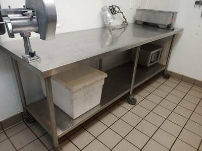 Restaurant Equipment - Stainless Steel Kitchen Preparation Table 30x96 W Casters