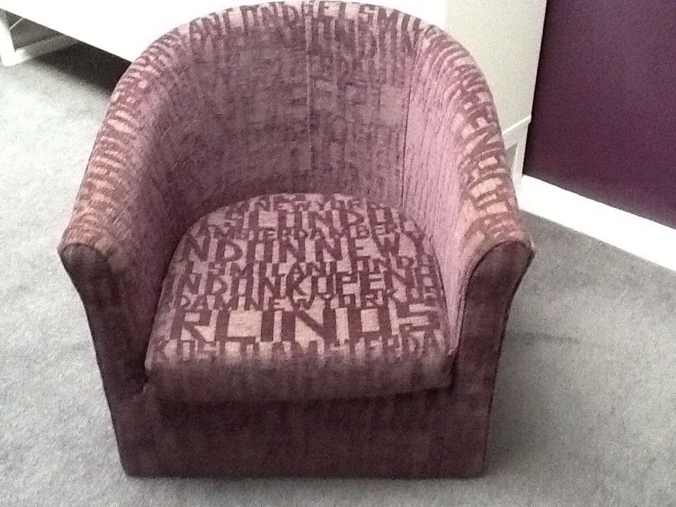 Purple printed tub chair