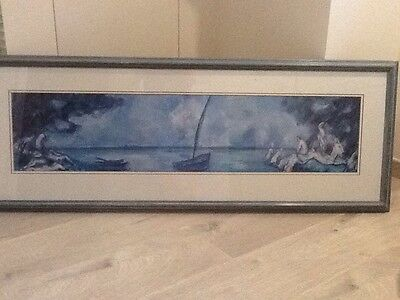 """Paul Cezanne Boat And Bathers Wide Wood Framed Double Mounted Print 45"""" x 16.5"""""""