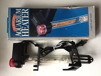 "Perfecto Manufacturing aquarium heater 8"" 50 Watt New NOS Tested Works Fish"