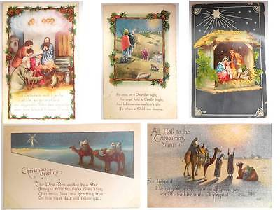 Christmas Nativity Bethlehem Christain Post Cards Lot of 5 1910 to 1917