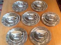 "Vintage 21 piece Johnson Bros ""Watermill"" brown ironstone tea set"