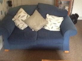 2 sofas a 2 seater and 3 seater in blue