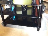 Black glass TV corner table stand