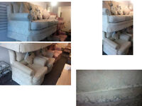 BEAUTIFUL CREAM/BEIGE COLOUR FABRIC SUITE 3 SEATER AND 2 MATCHING CHAIRS ALSO CUSHIONS SEE BELOW