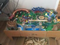 Wooden Train Track and Activity Table