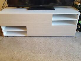 Cabinet tv 2 drawers stand white and light brown like a new