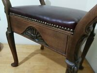 Vintage piano stool Victorian - Restored with red leather