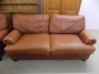 John Lewis Tetrad Cordoba Tan Brown Leather 3 Seater Sofa