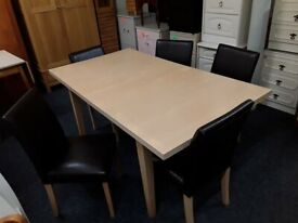 Extend beech dining table 5 chairs Copley Mill Low Cost Moves 2nd Hand Furniture STALYBRIDGE SK15
