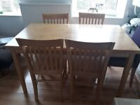 Furniture Sturdy wooden dining table + 4 chairs