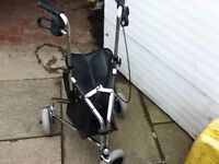 THREE WHEELED WALKER WITH BRAKES AND STORAGE BAG