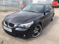2005 BMW 520d M Sport Black 20 inch chrome deep dish alloys, Full Mot, 5 series 530d 525d