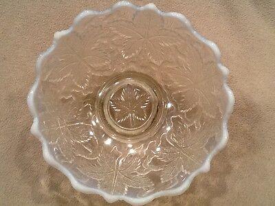 "White Opalescent Carnival Grape Leaf & Arbor Glass Serving Bowl 6-3/4""w Vintage"