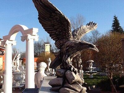 Gartenfigur, Adlerfigur, Steinstatue H.33 cm Steinguss, Vögel, Tiere, Gartendeko