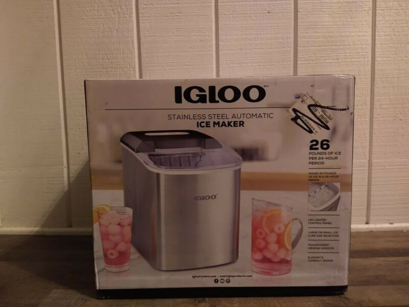 Igloo Stainless Steel Automatic Ice Maker, 28 lb, BRAND NEW Still In Box