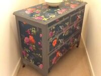 solid wood edwardian chest of draws painted in dove gray and decoupage