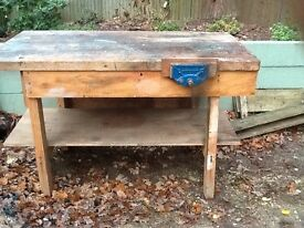 Solid Wooden Workbench with integrated vice,very sturdy