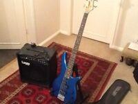 Yamaha bass guitar and amplifier