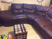 Original leather, corner sofa, 5 seater, lovely , viewing recommended