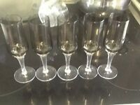 Vintage smoked twisted stem sherry glasses