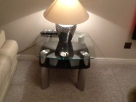 Pair of glass and chrome coffee tables