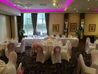 wedding chair covers & pink sashes