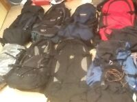 50 litres to 90 litre branded rucksacks-lightly used,no damage-from £30 upto £45 each