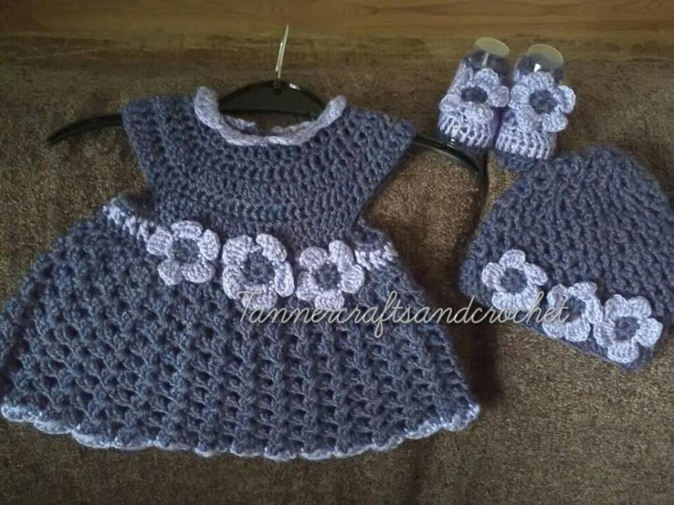 8358f3558791 denim blue baby crochet dress, hat and bootees - newborn baby handcrafted