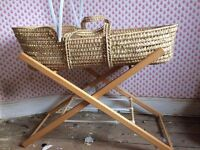 Woven Moses basket, complete with stand and mattress. East Coast nursery productions.
