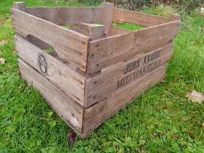Vintage 3 Slatted Wooden apple Crate Rustic Old Bushel Box - Shabby Chic Storage