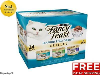 Fancy Feast Gourmet Cat Food Grilled Seafood Variety 3 Oz Cans 24 Pack Kitten