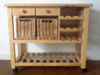 Solid Pine Kitchen Trolley / Island / Storage / Work surface