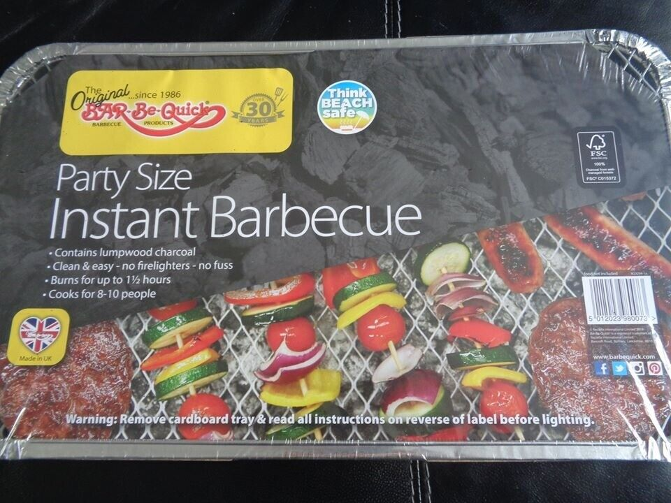 No assembly + 2 X Family size Instant BBQs- Each cooks for ten! Light /& portable Fits both size of disposable barbecue Bar-Be-Quick Instant Barbecue Stand- Foldable Instant BBQ stand