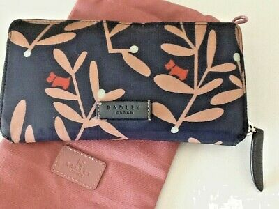 RADLEY NAVY FLORAL LEAF LARGE PURSE WITH DUST BAG
