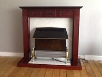 Fire surround c/w electric fire and wall mirror
