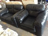Black leather 2 seater and chair