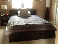 IKEA Malm black/brown double bed, bedside cabinet and chest of drawers
