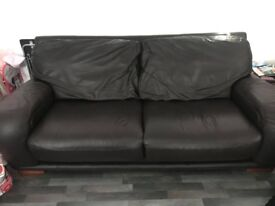 Large Brown Leather sofa suite