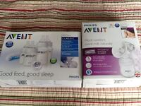 Phillips Avent manual breast pump and bottle set