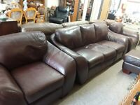 Brown leather three piece suite Copley Mill LOW COST MOVES 2nd Hand Furniture STALYBRIDGE SK15 3DN